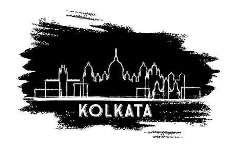 Kolkata India City Skyline Silhouette. Hand Drawn Sketch. Business Travel and Tourism Concept with Historic Architecture. Vector Illustration. Kolkata Cityscape with Landmarks.