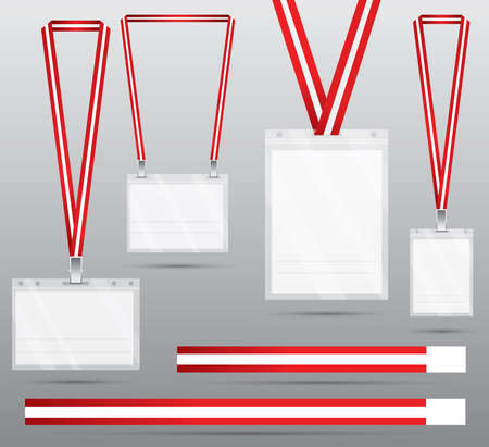 Set of Red Lanyard and Badge. Vector Illustration. Identification Card with Lanyard for Access to Events. Security and Control Element.