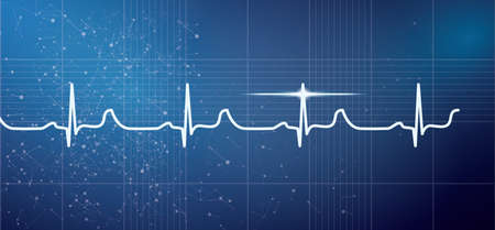 White Heart Beat Pulse Electrocardiogram Rhythm on Blue Background. Vector Illustration. Healthcare ECG or EKG Medical Life Concept for Cardiology. Stock Vector - 98892714