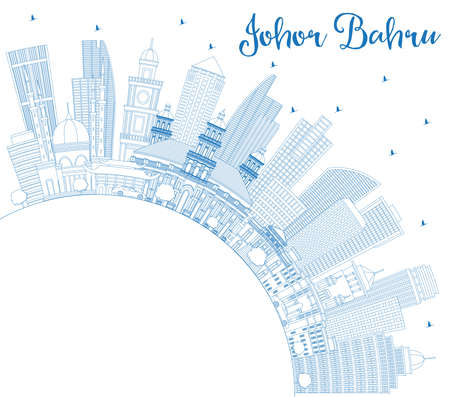 Outline Johor Bahru Malaysia Skyline with Blue Buildings and Copy Space. Business Travel and Tourism Vector Illustration with Modern Architecture. Johor Bahru Cityscape with Landmarks.
