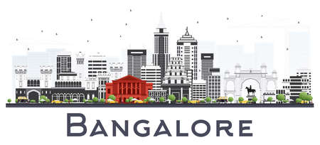 Bangalore India City Skyline with Gray Buildings Isolated on White. Vector Illustration. Illustration