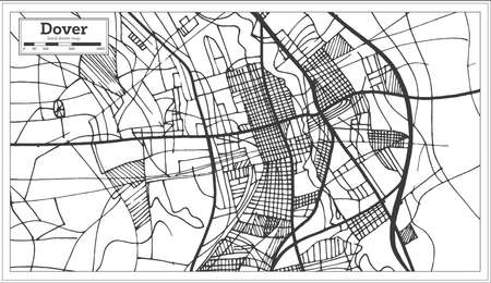 Dover Delaware USA City Map In Retro Style. Outline Map. Vector ...