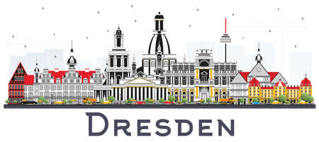 Dresden Germany City Skyline with Color Buildings Isolated on White. Vector Illustration. Business Travel and Tourism Concept with Historic Architecture. Dresden Cityscape with Landmarks.