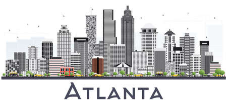 Atlanta Georgia USA City Skyline with Gray Buildings Isolated on White. Vector Illustration. Business Travel and Tourism Concept with Modern Buildings. Atlanta Cityscape with Landmarks. Illustration