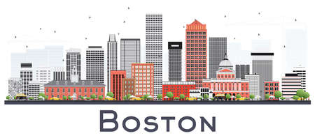 Boston Massachusetts Skyline with Gray and Red Buildings Isolated on White. Vector Illustration. Business Travel and Tourism Concept with Modern Buildings. Boston Cityscape with Landmarks.