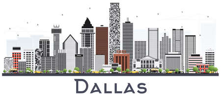 Dallas Texas City Skyline with Gray Buildings Isolated on White. Vector Illustration. Business Travel and Tourism Concept with Modern Buildings. Dallas Cityscape with Landmarks.