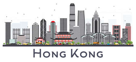 Hong Kong China City Skyline with Gray Buildings on White. Vector Illustration. Business Travel and Tourism Concept with Modern Architecture. Hong Kong Cityscape with Landmarks. Ilustração