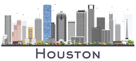 Houston Skyline USA City with Color Buildings on White Background. Vector Illustration. Business and Tourism Concept with Historic Architecture. Houston Texas Cityscape with Landmarks.