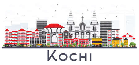Kochi India City Skyline with Color Buildings on White. Vector Illustration. Business Travel and Tourism Concept with Historic Architecture. Kochi Cityscape with Landmarks. Illustration
