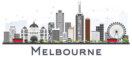 Melbourne Australia City Skyline with Gray Buildings Isolated on White Background. Vector Illustration. Business Travel and Tourism Concept with Modern Buildings. Melbourne Cityscape with Landmarks.