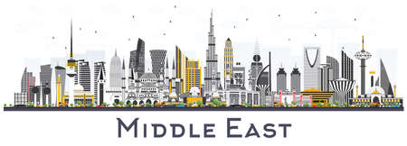 Middle East City Skyline with Color Buildings Isolated on White. Vector Illustration. Business Travel and Tourism Concept with Modern Architecture. Middle East Cityscape with Landmarks.