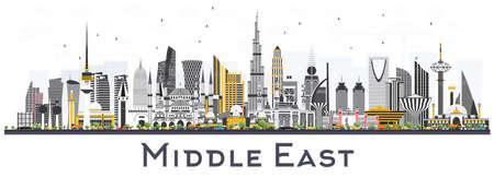 Orizzonte della città del Medio Oriente con le costruzioni di colore isolate su bianco. Illustrazione vettoriale Concetto di viaggio d'affari e turismo con architettura moderna. Paesaggio urbano del Medio Oriente con punti di riferimento.