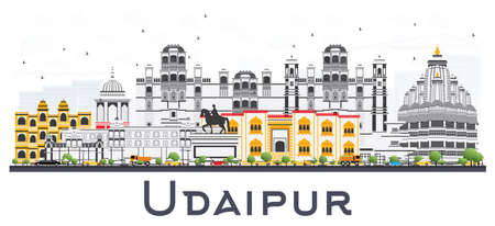 Udaipur India City Skyline with Color Buildings Isolated on White. Vector Illustration. Business Travel and Tourism Concept with Historic Architecture. Udaipur Cityscape with Landmarks.