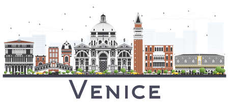 Venice Italy City Skyline with Color Buildings Isolated on White Background. Vector Illustration. Business and Tourism Concept with Historic Architecture. Venice Panorama Cityscape with Landmarks.