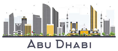 Abu Dhabi UAE City Skyline with Gray Buildings on White Background. Vector Illustration. Business Travel and Tourism Concept with Modern Buildings. Abu Dhabi Cityscape with Landmarks. Illustration