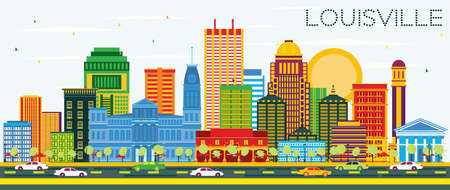 Louisville Kentucky USA city skyline with color buildings and blue sky vector illustration. Business travel and tourism concept with modern architecture. Louisville Cityscape with landmarks. Stock Vector - 99481420