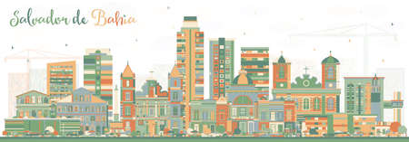 Salvador de Bahia city skyline with color buildings vector illustration. Business travel and tourism concept with historic architecture. Salvador de bahia cityscape with landmarks.