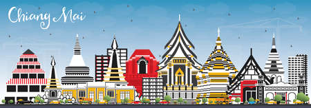 Chiang Mai Thailand City Skyline with Color Buildings and Blue Sky. Vector Illustration. Business Travel and Tourism Concept with Modern Architecture. Chiang Mai Cityscape with Landmarks.  イラスト・ベクター素材