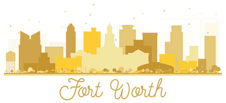 Fort Worth Texas USA City skyline Golden silhouette. Simple flat concept for tourism presentation, banner, placard or web site. Fort Worth Cityscape with landmarks. Vector illustration. Illustration