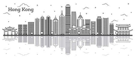 Outline Hong Kong China City Skyline with Modern Buildings and Reflections Isolated on White. Vector Illustration. Hong Kong Cityscape with Landmarks.