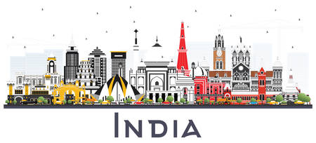 India City Skyline with Color Buildings Isolated on White. Delhi. Mumbai, Bangalore, Chennai. Vector Illustration. Travel and Tourism Concept with Historic Architecture. India Cityscape with Landmarks. Vettoriali