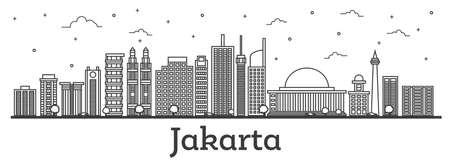 Outline Jakarta Indonesia City Skyline with Modern Buildings Isolated on White. Vector Illustration. Jakarta Cityscape with Landmarks.