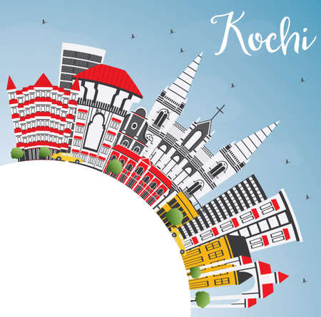 Kochi India City Skyline with Color Buildings, Blue Sky and Copy Space. Vector Illustration. Business Travel and Tourism Concept with Historic Architecture. Kochi Cityscape with Landmarks.