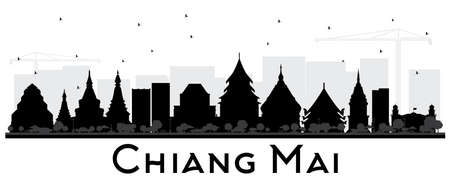 Chiang Mai Thailand City Skyline Silhouette with Black Buildings Isolated on White. Vector Illustration. Business Travel and Tourism Concept with Modern Architecture. Chiang Mai Cityscape with Landmarks.  イラスト・ベクター素材