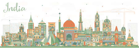India City Skyline with Color Buildings. Delhi. Mumbai, Bangalore, Chennai. Vector Illustration. Travel and Tourism Concept with Historic Architecture. India Cityscape with Landmarks. Illustration