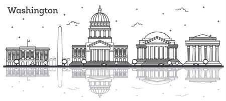 Outline Washington DC USA City Skyline with Modern Buildings Isolated on White. Vector Illustration. Washington DC Cityscape with Landmarks and Reflections.