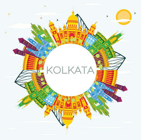 Kolkata India Skyline with Color Buildings, Blue Sky and Copy Space. Vector Illustration. Business Travel and Tourism Concept with Historic Buildings. Kolkata Cityscape with Landmarks. Stock Vector - 99575083