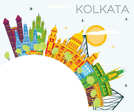 Kolkata India Skyline with Color Buildings, Blue Sky and Copy Space. Vector Illustration. Business Travel and Tourism Concept with Historic Buildings. Kolkata Cityscape with Landmarks.