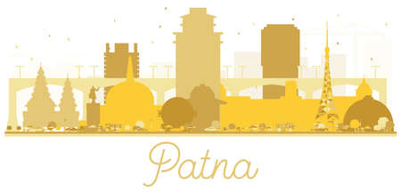 Patna India City Skyline Golden Silhouette. Vector Illustration. Simple Flat Concept for Tourism Presentation, Banner, Placard or Web Site. Patna Cityscape with Landmarks.  Illustration