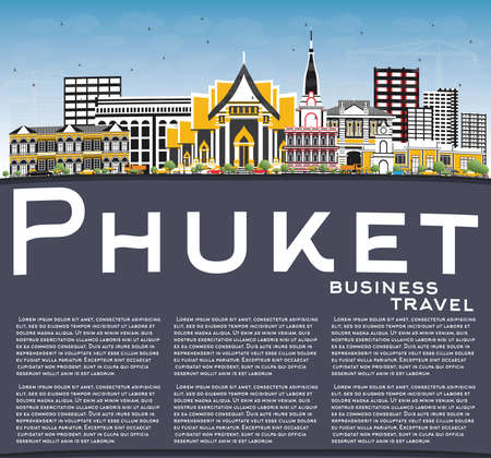 Phuket Thailand City Skyline with Color Buildings, Blue Sky and Copy Space. Vector Illustration. Business Travel and Tourism Concept with Modern Architecture. Phuket Cityscape with Landmarks.