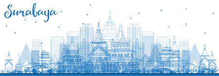 Outline Surabaya Skyline with Blue Buildings. Vector Illustration. Business Travel and Tourism Concept with Modern Architecture. Surabaya Cityscape with Landmarks.