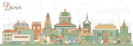 Skyline de berne avec des bâtiments de couleur. illustration vectorielle voyage commercial et tourisme concept avec cityscape cityscape avec des bâtiments numériques avec des fonds Banque d'images - 99581387