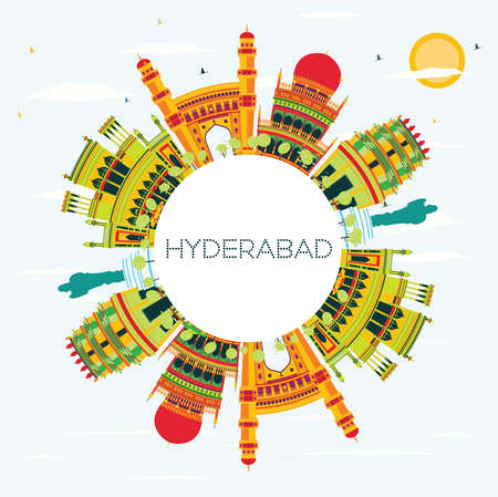 Hyderabad City Skyline with Color Buildings and Copy Space. Vector Illustration. Business Travel and Tourism Concept with Historic Architecture. Hyderabad Cityscape with Landmarks.