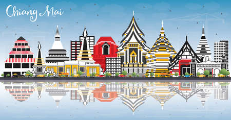 Chiang Mai Thailand City Skyline with Color Buildings, Blue Sky and Reflections. Vector Illustration. Business Travel and Tourism Concept with Modern Architecture. Chiang Mai Cityscape with Landmarks.
