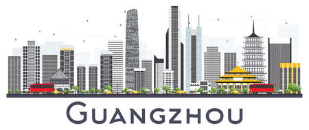 Guangzhou China City Skyline with Gray Buildings Isolated on White Background. Vector Illustration. Business Travel and Tourism Concept with Modern Buildings. Guangzhou Cityscape with Landmarks. Ilustração