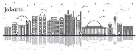 Outline Jakarta Indonesia City Skyline with Modern Buildings and Reflections Isolated on White. Vector Illustration. Jakarta Cityscape with Landmarks. Ilustração