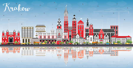 Krakow Poland City Skyline with Color Buildings, Blue Sky and Reflections. Vector Illustration. Business Travel and Tourism Concept with Historic Architecture. Krakow Cityscape with Landmarks.