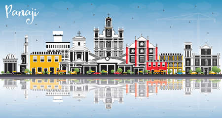 Panaji India City Skyline with Color Buildings, Blue Sky and Reflections. Vector Illustration. Business Travel and Tourism Concept with Historic Architecture. Panaji Cityscape with Landmarks.