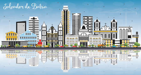 Salvador de Bahia City Skyline with Color Buildings, Blue Sky and Reflections. Vector Illustration. Business Travel and Tourism Concept with Historic Architecture. Salvador de Bahia Cityscape with Landmarks.