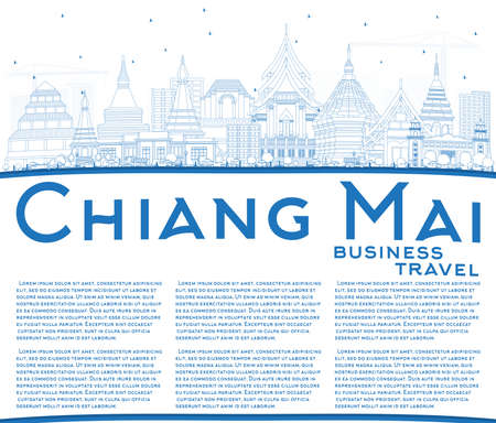 Outline Chiang Mai Thailand City Skyline with Blue Buildings and Copy Space. Vector Illustration. Business Travel and Tourism Concept with Modern Architecture. Chiang Mai Cityscape with Landmarks.