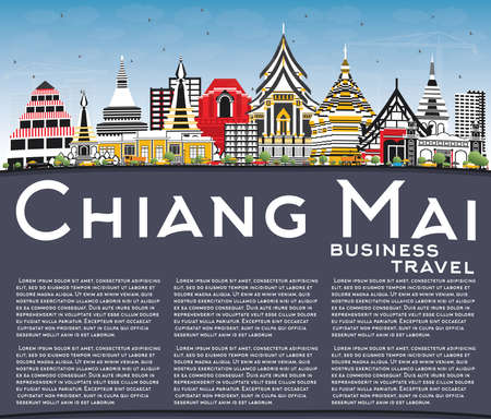 Chiang Mai Thailand City Skyline with Color Buildings, Blue Sky and Copy Space. Vector Illustration. Business Travel and Tourism Concept with Modern Architecture. Chiang Mai Cityscape with Landmarks.