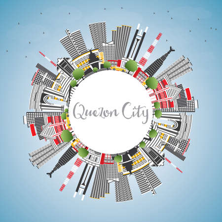 Quezon City, Philippines skyline with gray buildings, blue sky and copy space vector illustration. Business travel and tourism illustration with modern architecture with landmarks.