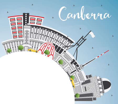 Canberra Australia City Skyline with Gray Buildings, Blue Sky and Copy Space. Vector Illustration. Business Travel and Tourism Concept with Modern Architecture. Canberra Cityscape with Landmarks.