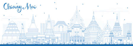Outline Chiang Mai, Thailand City skyline with blue buildings vector illustration. Business travel and tourism concept with modern architecture with landmarks.  イラスト・ベクター素材