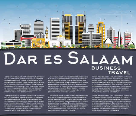 Dar Es Salaam Tanzania City Skyline with Color Buildings, Blue Sky and Copy Space. Vector Illustration. Business Travel and Tourism Concept with Modern Architecture. Ilustração