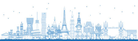 Outline Famous Landmarks in Europe. Vector Illustration. Business Travel and Tourism Concept. Image for Presentation, Banner, Placard and Web Site.